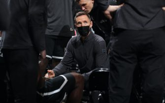 BROOKLYN, NY - DECEMBER 22: Head Coach Steve Nash huddles his team up during the game against the Golden State Warriors on December 22, 2020 at Barclays Center in Brooklyn, New York. NOTE TO USER: User expressly acknowledges and agrees that, by downloading and or using this Photograph, user is consenting to the terms and conditions of the Getty Images License Agreement. Mandatory Copyright Notice: Copyright 2020 NBAE (Photo by Nathaniel S. Butler/NBAE via Getty Images)