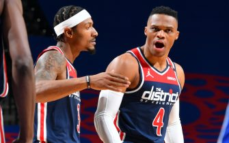 PHILADELPHIA, PA - DECEMBER 23: Bradley Beal #3 and Russell Westbrook #4 of the Washington Wizards celebrate during the game against the Philadelphia 76ers on December 23, 2020 at the Wells Fargo Center in Philadelphia, Pennsylvania NOTE TO USER: User expressly acknowledges and agrees that, by downloading and/or using this Photograph, user is consenting to the terms and conditions of the Getty Images License Agreement. Mandatory Copyright Notice: Copyright 2020 NBAE (Photo by Jesse D. Garrabrant/NBAE via Getty Images)
