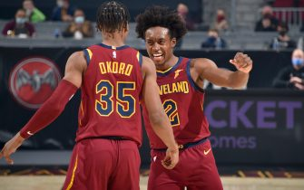 CLEVELAND, OH - DECEMBER 23: Collin Sexton #2 hi-fives Isaac Okoro #35 of the Cleveland Cavaliers during the game against the Charlotte Hornets on December 23, 2020 at Rocket Mortgage FieldHouse in Cleveland, Ohio. NOTE TO USER: User expressly acknowledges and agrees that, by downloading and/or using this Photograph, user is consenting to the terms and conditions of the Getty Images License Agreement. Mandatory Copyright Notice: Copyright 2020 NBAE (Photo by David Liam Kyle/NBAE via Getty Images)