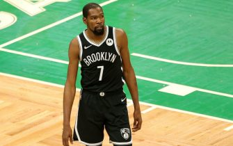 BOSTON, MASSACHUSETTS - DECEMBER 18: Kevin Durant #7 of the Brooklyn Nets looks on during the preseason game against the Boston Celtics at TD Garden on December 18, 2020 in Boston, Massachusetts. NOTE TO USER: User expressly acknowledges and agrees that, by downloading and or using this photograph, User is consenting to the terms and conditions of the Getty Images License Agreement.  (Photo by Maddie Meyer/Getty Images)