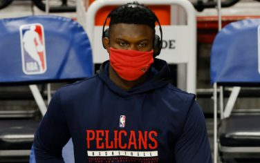 MIAMI, FLORIDA - DECEMBER 25: Zion Williamson #1 of the New Orleans Pelicans looks on prior to the game against the Miami Heat at American Airlines Arena on December 25, 2020 in Miami, Florida. NOTE TO USER: User expressly acknowledges and agrees that, by downloading and or using this photograph, User is consenting to the terms and conditions of the Getty Images License Agreement.  (Photo by Michael Reaves/Getty Images)