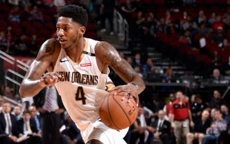 HOUSTON, TX - OCTOBER 17: Elfrid Payton #4 of the New Orleans Pelicans handles the ball against the Houston Rockets during a game on October 17, 2018 at Toyota Center, in Houston, Texas. NOTE TO USER: User expressly acknowledges and agrees that, by downloading and/or using this Photograph, user is consenting to the terms and conditions of the Getty Images License Agreement. Mandatory Copyright Notice: Copyright 2018 NBAE (Photo by Bill Baptist/NBAE via Getty Images)