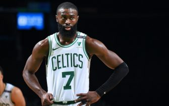 BOSTON, MA - DECEMBER 30: Jaylen Brown #7 of the Boston Celtics looks on during the game against the Memphis Grizzlies on December 30, 2020 at the TD Garden in Boston, Massachusetts.  NOTE TO USER: User expressly acknowledges and agrees that, by downloading and or using this photograph, User is consenting to the terms and conditions of the Getty Images License Agreement. Mandatory Copyright Notice: Copyright 2020 NBAE  (Photo by Brian Babineau/NBAE via Getty Images)