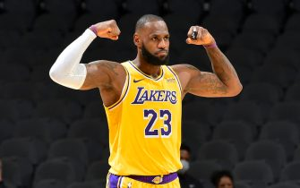 SAN ANTONIO, TX - DECEMBER 30: LeBron James #23 of the Los Angeles Lakers celebrates during the game against the San Antonio Spurs on December 30, 2020 at the AT&T Center in San Antonio, Texas. NOTE TO USER: User expressly acknowledges and agrees that, by downloading and or using this photograph, user is consenting to the terms and conditions of the Getty Images License Agreement. Mandatory Copyright Notice: Copyright 2020 NBAE (Photos by Logan Riely/NBAE via Getty Images)