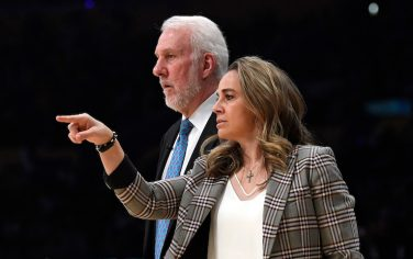 LOS ANGELES, CA - FEBRUARY 04:  Assistant coach Becky Hammon of the San Antonio Spurs directs players as head coach Gregg Popovich looks on during the game against Los Angeles Lakers at Staples Center on February 4, 2020 in Los Angeles, California. NOTE TO USER: User expressly acknowledges and agrees that, by downloading and/or using this Photograph, user is consenting to the terms and conditions of the Getty Images License Agreement. (Photo by Kevork Djansezian/Getty Images)