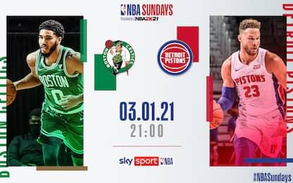 NBA Sundays, Detroit-Boston alle 21 su Sky Sport