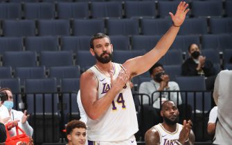 MEMPHIS, TN - JANUARY 3: Marc Gasol #14 of the Los Angeles Lakers thanks the Memphis Grizzlies after watching a tribute video in his honor during the game against the Memphis Grizzlies on January 3, 2021 at FedExForum in Memphis, Tennessee. NOTE TO USER: User expressly acknowledges and agrees that, by downloading and or using this photograph, User is consenting to the terms and conditions of the Getty Images License Agreement. Mandatory Copyright Notice: Copyright 2021 NBAE (Photo by Joe Murphy/NBAE via Getty Images)