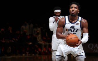 BROOKLYN, NY - JANUARY 5: Donovan Mitchell #45 of the Utah Jazz shoots a free throw during the game against the Brooklyn Nets on January 5, 2021 at Barclays Center in Brooklyn, New York. NOTE TO USER: User expressly acknowledges and agrees that, by downloading and or using this Photograph, user is consenting to the terms and conditions of the Getty Images License Agreement. Mandatory Copyright Notice: Copyright 2021 NBAE (Photo by Nathaniel S. Butler/NBAE via Getty Images)