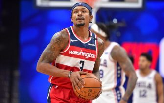 PHILADELPHIA, PA - JANUARY 6: Bradley Beal #3 of the Washington Wizards looks on during the game against the Philadelphia 76ers on January 6, 2021 at the Wells Fargo Center in Philadelphia, Pennsylvania NOTE TO USER: User expressly acknowledges and agrees that, by downloading and/or using this Photograph, user is consenting to the terms and conditions of the Getty Images License Agreement. Mandatory Copyright Notice: Copyright 2021 NBAE (Photo by Jesse D. Garrabrant/NBAE via Getty Images)