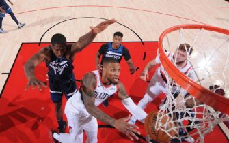 PORTLAND, OR - JANUARY 7: Damian Lillard #0 of the Portland Trail Blazers shoots the ball during the game against the Minnesota Timberwolves on January 7, 2021 at the Moda Center Arena in Portland, Oregon. NOTE TO USER: User expressly acknowledges and agrees that, by downloading and or using this photograph, user is consenting to the terms and conditions of the Getty Images License Agreement. Mandatory Copyright Notice: Copyright 2021 NBAE (Photo by Sam Forencich/NBAE via Getty Images)