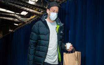 OKLAHOMA CITY, OK - DECEMBER 28: Joe Ingles #2 of the Utah Jazz arrives to the arena before the game against the Oklahoma City Thunder on December 28, 2020 at Chesapeake Energy Arena in Oklahoma City, Oklahoma. NOTE TO USER: User expressly acknowledges and agrees that, by downloading and or using this photograph, User is consenting to the terms and conditions of the Getty Images License Agreement. Mandatory Copyright Notice: Copyright 2020 NBAE (Photo by Zach Beeker/NBAE via Getty Images)