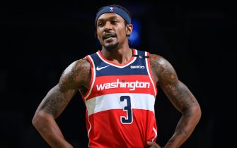 BOSTON, MA - JANUARY 8: Bradley Beal #3 of the Washington Wizards looks on during the game against the Boston Celtics on January 8, 2021 at the TD Garden in Boston, Massachusetts.  NOTE TO USER: User expressly acknowledges and agrees that, by downloading and or using this photograph, User is consenting to the terms and conditions of the Getty Images License Agreement. Mandatory Copyright Notice: Copyright 2021 NBAE  (Photo by Brian Babineau/NBAE via Getty Images)