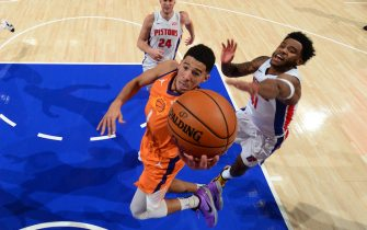 DETROIT, MI - JANUARY 8: Devin Booker #1 of the Phoenix Suns drives to the basket during the game against the Detroit Pistons on January 8, 2021 at Little Caesars Arena in Detroit, Michigan. NOTE TO USER: User expressly acknowledges and agrees that, by downloading and/or using this photograph, User is consenting to the terms and conditions of the Getty Images License Agreement. Mandatory Copyright Notice: Copyright 2021 NBAE (Photo by Chris Schwegler/NBAE via Getty Images)