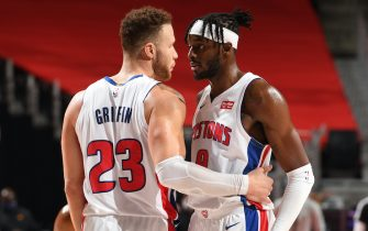 DETROIT, MI - JANUARY 8: Blake Griffin #23 of the Detroit Pistons talks to Jerami Grant #9 of the Detroit Pistons after the game against the Phoenix Suns on January 8, 2021 at Little Caesars Arena in Detroit, Michigan. NOTE TO USER: User expressly acknowledges and agrees that, by downloading and/or using this photograph, User is consenting to the terms and conditions of the Getty Images License Agreement. Mandatory Copyright Notice: Copyright 2021 NBAE (Photo by Chris Schwegler/NBAE via Getty Images)