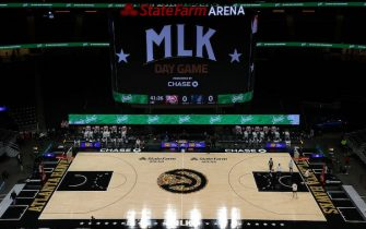 ATLANTA, GEORGIA - JANUARY 18:  A view of State Farm Arena prior to the game between the Atlanta Hawks and the Minnesota Timberwolves on January 18, 2021 in Atlanta, Georgia.  NOTE TO USER: User expressly acknowledges and agrees that, by downloading and or using this photograph, User is consenting to the terms and conditions of the Getty Images License Agreement.  (Photo by Kevin C. Cox/Getty Images)