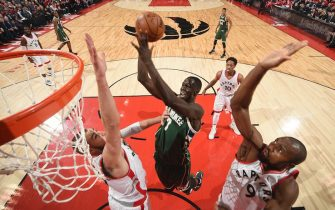 TORONTO, CANADA - APRIL 18:  Thon Maker #7 of the Milwaukee Bucks shoots the ball against the Toronto Raptors during Game Two of the Eastern Conference Quarterfinals of the 2017 NBA Playoffs on April 18, 2017 at the Air Canada Centre in Toronto, Ontario, Canada. NOTE TO USER: User expressly acknowledges and agrees that, by downloading and/or using this photograph, user is consenting to the terms and conditions of the Getty Images License Agreement.  Mandatory Copyright Notice: Copyright 2017 NBAE (Photo by Ron Turenne/NBAE via Getty Images)