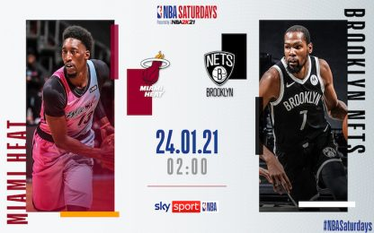 NBA Saturdays: Brooklyn-Miami alle 2 su Sky Sport