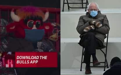 La mascotte dei Bulls imita Bernie Sanders. VIDEO
