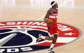 WASHINGTON, DC - DECEMBER 31: Bradley Beal #3 of the Washington Wizards dribbles the ball against the Chicago Bulls in the first half at Capital One Arena on December 31, 2020 in Washington, DC. NOTE TO USER: User expressly acknowledges and agrees that, by downloading and or using this photograph, User is consenting to the terms and conditions of the Getty Images License Agreement.  (Photo by Rob Carr/Getty Images)