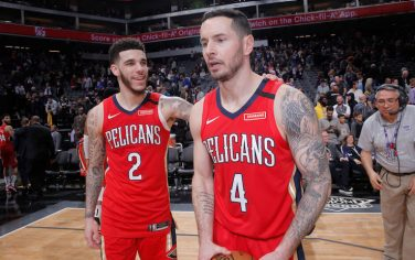 SACRAMENTO, CA - JANUARY 4: Lonzo Ball #2 and JJ Redick #4 of the New Orleans Pelicans celebrate after defeating the Sacramento Kings on January 4, 2020 at Golden 1 Center in Sacramento, California. NOTE TO USER: User expressly acknowledges and agrees that, by downloading and or using this photograph, User is consenting to the terms and conditions of the Getty Images Agreement. Mandatory Copyright Notice: Copyright 2020 NBAE (Photo by Rocky Widner/NBAE via Getty Images)