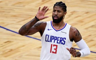 ORLANDO, FLORIDA - JANUARY 29: Paul George #13 of the LA Clippers reacts during the first quarter against the Orlando Magic at Amway Center on January 29, 2021 in Orlando, Florida. NOTE TO USER: User expressly acknowledges and agrees that, by downloading and or using this photograph, User is consenting to the terms and conditions of the Getty Images License Agreement. (Photo by Douglas P. DeFelice/Getty Images)