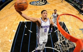 ORLANDO, FL - JANUARY 27: Tyrese Haliburton #0 of the Sacramento Kings shoots the ball against the Orlando Magic on January 27, 2021 at Amway Center in Orlando, Florida. NOTE TO USER: User expressly acknowledges and agrees that, by downloading and or using this photograph, User is consenting to the terms and conditions of the Getty Images License Agreement. Mandatory Copyright Notice: Copyright 2021 NBAE (Photo by Fernando Medina/NBAE via Getty Images)