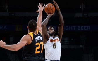 DENVER, CO - JANUARY 31: JaMychal Green #0 of the Denver Nuggets shoots the ball against the Utah Jazz on January 31, 2021 at the Ball Arena in Denver, Colorado. NOTE TO USER: User expressly acknowledges and agrees that, by downloading and/or using this Photograph, user is consenting to the terms and conditions of the Getty Images License Agreement. Mandatory Copyright Notice: Copyright 2021 NBAE (Photo by Bart Young/NBAE via Getty Images)