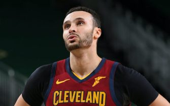 MILWAUKEE, WI - JANUARY 9: Larry Nance Jr. #22 of the Cleveland Cavaliers looks on during the game against the Milwaukee Bucks on January 9, 2021 at the Fiserv Forum Center in Milwaukee, Wisconsin. NOTE TO USER: User expressly acknowledges and agrees that, by downloading and or using this Photograph, user is consenting to the terms and conditions of the Getty Images License Agreement. Mandatory Copyright Notice: Copyright 2021 NBAE (Photo by Gary Dineen/NBAE via Getty Images).