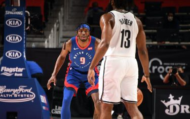 DETROIT, MI - FEBRUARY 9: Jerami Grant #9 of the Detroit Pistons plays defense during the game against the Brooklyn Nets on February 9, 2021 at Little Caesars Arena in Detroit, Michigan. NOTE TO USER: User expressly acknowledges and agrees that, by downloading and/or using this photograph, User is consenting to the terms and conditions of the Getty Images License Agreement. Mandatory Copyright Notice: Copyright 2021 NBAE (Photo by Chris Schwegler/NBAE via Getty Images)