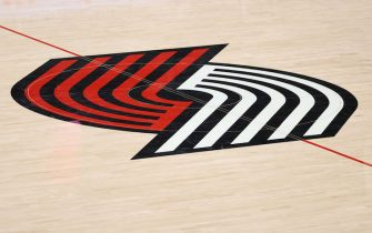 PORTLAND, OREGON - JANUARY 16: A general view of the Portland Trail Blazers logo at Moda Center on January 16, 2021 in Portland, Oregon. NOTE TO USER: User expressly acknowledges and agrees that, by downloading and or using this photograph, User is consenting to the terms and conditions of the Getty Images License Agreement. (Photo by Abbie Parr/Getty Images)