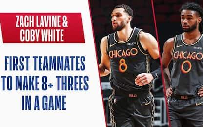LaVine e White coppia da record: 8 triple a testa