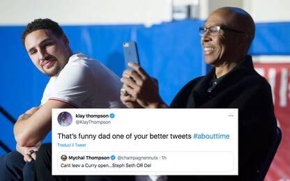 I Curry segnano da tre, i Thompson commentano
