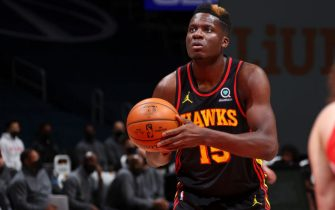WASHINGTON, DC -JANUARY 29: Clint Capela #15 of the Atlanta Hawks shoots a free throw during the game against the Washington Wizards on January 29, 2021 at Capital One Arena in Washington, DC. NOTE TO USER: User expressly acknowledges and agrees that, by downloading and or using this Photograph, user is consenting to the terms and conditions of the Getty Images License Agreement. Mandatory Copyright Notice: Copyright 2021 NBAE (Photo by Ned Dishman/NBAE via Getty Images)