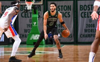 BOSTON, MA - FEBRUARY 12: Jayson Tatum #0 of the Boston Celtics handles the ball during the game against the Detroit Pistons on February 12, 2021 at the TD Garden in Boston, Massachusetts.  NOTE TO USER: User expressly acknowledges and agrees that, by downloading and or using this photograph, User is consenting to the terms and conditions of the Getty Images License Agreement. Mandatory Copyright Notice: Copyright 2021 NBAE  (Photo by Brian Babineau/NBAE via Getty Images)