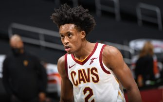 LOS ANGELES, CA - FEBRUARY 14: Collin Sexton #2 of the Cleveland Cavaliers looks on during the game against the LA Clippers on February 14, 2021 at STAPLES Center in Los Angeles, California. NOTE TO USER: User expressly acknowledges and agrees that, by downloading and/or using this Photograph, user is consenting to the terms and conditions of the Getty Images License Agreement. Mandatory Copyright Notice: Copyright 2021 NBAE (Photo by Adam Pantozzi/NBAE via Getty Images)