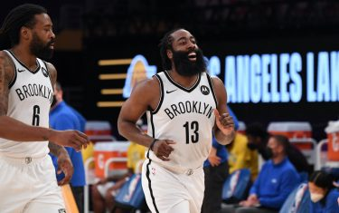 LOS ANGELES, CA - FEBRUARY 18: James Harden #13 of the Brooklyn Nets looks on during the game against the Los Angeles Lakers on February 18, 2021 at STAPLES Center in Los Angeles, California. NOTE TO USER: User expressly acknowledges and agrees that, by downloading and/or using this Photograph, user is consenting to the terms and conditions of the Getty Images License Agreement. Mandatory Copyright Notice: Copyright 2021 NBAE (Photo by Adam Pantozzi/NBAE via Getty Images)