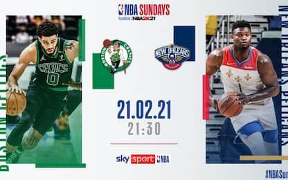 NBA Sundays: New Orleans-Boston alle 21.30 su Sky