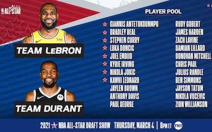 LeBron vs. Durant: le squadre scelte per l'ASG
