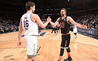 NEW YORK, NY - FEBRUARY 15:  Pau Gasol #16 of the Western Conference hugs his brother Marc Gasol #33 of the Western Conference after the 64th NBA All-Star Game presented by KIA as part of the 2015 NBA All-Star Weekend on February 15, 2015 at Madison Square Garden in New York, New York. NOTE TO USER: User expressly acknowledges and agrees that, by downloading and/or using this photograph, user is consenting to the terms and conditions of the Getty Images License Agreement.  Mandatory Copyright Notice: Copyright 2015 NBAE (Photo by Andrew D. Bernstein/NBAE via Getty Images)