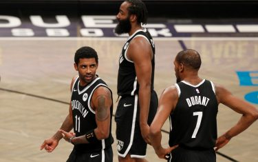 against the at Barclays Center on Saturday, Jan. 23, 2021 in New York City.