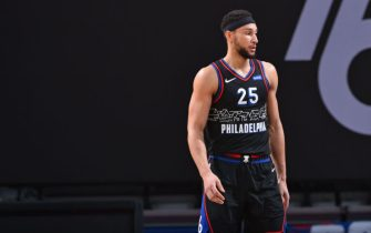 PHILADELPHIA, PA - FEBRUARY 27: Ben Simmons #25 of the Philadelphia 76ers looks on during a game against the Cleveland Cavaliers on February 27, 2021 at Wells Fargo Center in Philadelphia, Pennsylvania. NOTE TO USER: User expressly acknowledges and agrees that, by downloading and/or using this Photograph, user is consenting to the terms and conditions of the Getty Images License Agreement. Mandatory Copyright Notice: Copyright 2021 NBAE (Photo by Jesse D. Garrabrant/NBAE via Getty Images)