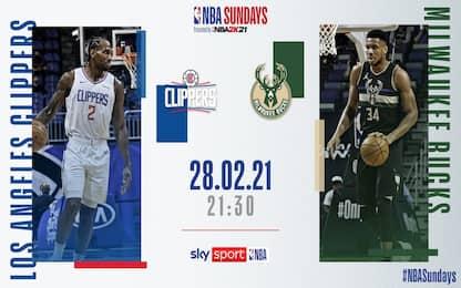 NBA Sundays: Bucks-Clippers alle 21.30 su Sky