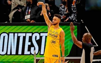Curry da impazzire: vince la gara del tiro da tre