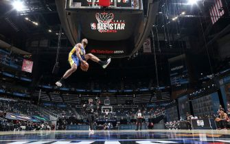 ATLANTA, GA - MARCH 7: Cassius Stanley #2 of the Indiana Pacers dunks the ball during the AT&T Slam Dunk Contest as part of 2021 NBA All Star Weekend on March 7, 2021 at State Farm Arena in Atlanta, Georgia. NOTE TO USER: User expressly acknowledges and agrees that, by downloading and or using this photograph, User is consenting to the terms and conditions of the Getty Images License Agreement. Mandatory Copyright Notice: Copyright 2021 NBAE (Photo by Nathaniel S. Butler/NBAE via Getty Images)