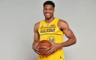 ATLANTA, GA - MARCH 7: Giannis Antetokounmpo #34 of Team LeBron poses for a portrait before the 70th NBA All Star Game as part of 2021 NBA All Star Weekend on March 7, 2021 at State Farm Arena in Atlanta, Georgia. NOTE TO USER: User expressly acknowledges and agrees that, by downloading and or using this photograph, User is consenting to the terms and conditions of the Getty Images License Agreement. Mandatory Copyright Notice: Copyright 2021 NBAE (Photo by Jesse D. Garrabrant/NBAE via Getty Images)