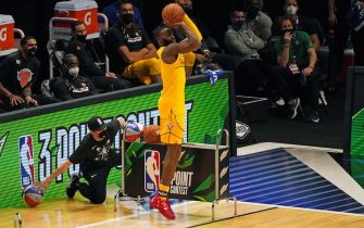 Jaylen Brown of the Boston Celtics participates in the MTN DEW 3-Point Contest during the 2021 NBA All-Star Game at State Farm Arena in Atlanta, Georgia on March 7, 2021. (Photo by TIMOTHY A. CLARY / AFP) (Photo by TIMOTHY A. CLARY/AFP via Getty Images)
