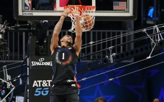 ATLANTA, GA - MARCH 7: Obi Toppin #1 of the New York Knicks dunks the ball during the AT&T Slam Dunk Contest as part of 2021 NBA All Star Weekend on March 7, 2021 at State Farm Arena in Atlanta, Georgia. NOTE TO USER: User expressly acknowledges and agrees that, by downloading and or using this photograph, User is consenting to the terms and conditions of the Getty Images License Agreement. Mandatory Copyright Notice: Copyright 2021 NBAE (Photo by Joe Murphy/NBAE via Getty Images)