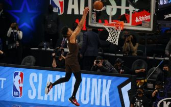 ATLANTA, GEORGIA - MARCH 07:  Anfernee Simons of the Portland Trail Blazers competes in the 2021 NBA All-Star - AT&T Slam Dunk Contest during All-Star Sunday Night at State Farm Arena on March 07, 2021 in Atlanta, Georgia. (Photo by Kevin C. Cox/Getty Images)