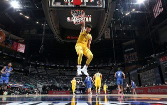 ATLANTA, GA - MARCH 7: Stephen Curry #30 of Team LeBron dunks the ball during the 70th NBA All Star Game as part of 2021 NBA All Star Weekend on March 7, 2021 at State Farm Arena in Atlanta, Georgia. NOTE TO USER: User expressly acknowledges and agrees that, by downloading and or using this photograph, User is consenting to the terms and conditions of the Getty Images License Agreement. Mandatory Copyright Notice: Copyright 2021 NBAE (Photo by Nathaniel S. Butler/NBAE via Getty Images)