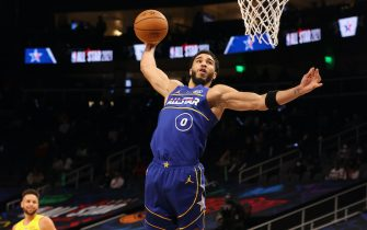 ATLANTA, GA - MARCH 7: Jayson Tatum #0 of Team Durant dunks the ball during the 70th NBA All Star Game as part of 2021 NBA All Star Weekend on March 7, 2021 at State Farm Arena in Atlanta, Georgia. NOTE TO USER: User expressly acknowledges and agrees that, by downloading and or using this photograph, User is consenting to the terms and conditions of the Getty Images License Agreement. Mandatory Copyright Notice: Copyright 2021 NBAE (Photo by Joe Murphy/NBAE via Getty Images)